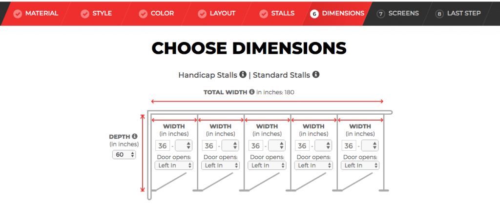 Restroom stall dimensions
